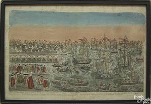 Two color engraved harbor scenes