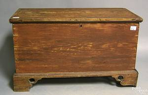 Red stained yellow pine blanket chest