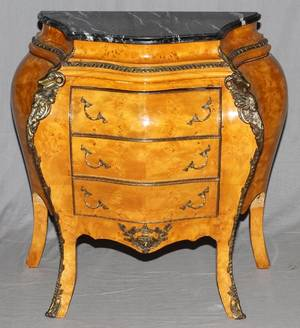 FRENCH STYLE MARBLE TOP THREE DRAWER COMMODE
