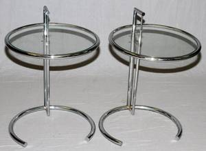 EILEEN GREY CHROME AND GLASS TOP TABLES PAIR