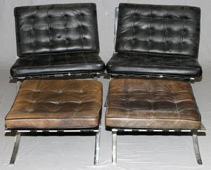 BARCELONA CHAIRS AND OTTOMANS PAIR