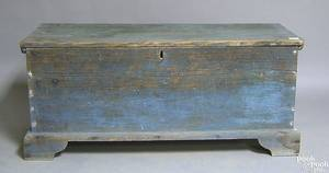 Blue painted yellow pine blanket chest