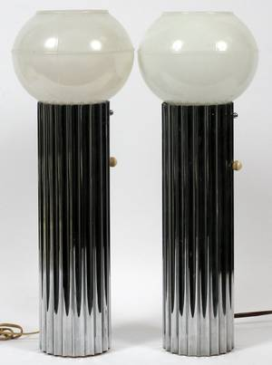 ART DECO STYLE CHROME  GLASS LAMPS PAIR