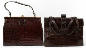 LUCILLE DE PARIS  VASSAR BROWN ALLIGATOR HAND BAGS