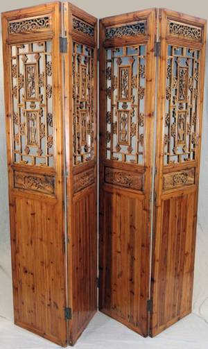 ANTIQUE CHINESE PINE FOURPANEL SCREEN