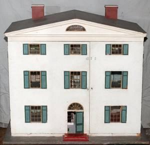 DOLL HOUSE W ROOM SETTINGS C 1920