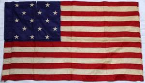 AMERICAN 15 STAR SILK FLAG