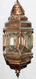 MIDDLE EASTERN METAL  GLASS LANTERN C 1920