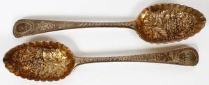 ANTIQUE ENGLISH STERLING BERRY SPOONS 18TH C PAIR