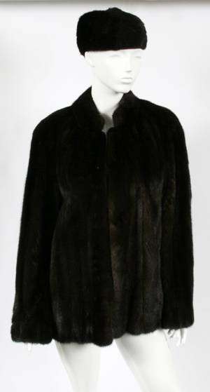 MINK FUR LADIES COAT  HAT C 1950 TWO