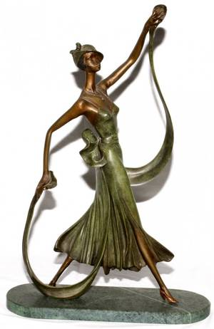 ART DECO STYLE PATINATED BRONZE SCULPTURE