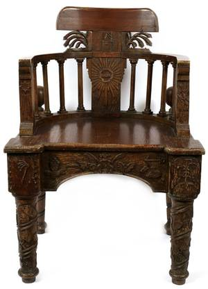 FRATERNAL CARVED OAK CHAIR EARLY 20TH C
