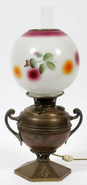 BRADLEY  HUBBARD BRASS AND GLASS OIL LAMP OVERALL