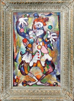 OIL ON CANVAS ABSTRACT CLOWN 20TH C