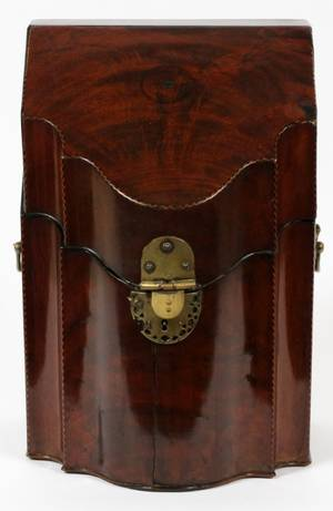 ANTIQUE MAHOGANY KNIFE BOX FITTED INTERIOR