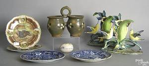 Pottery and porcelain to include a pair of Stangl bird figures