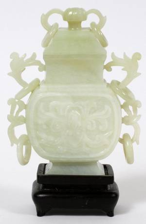 CHINESE LIGHT GREEN JADE SMALL COVERED URN C 1980
