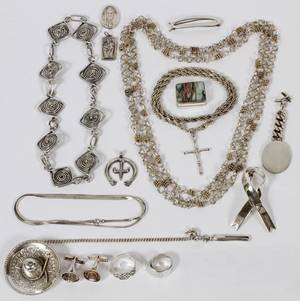 STERLING  SILVERPLATE JEWELRY 17 PIECES