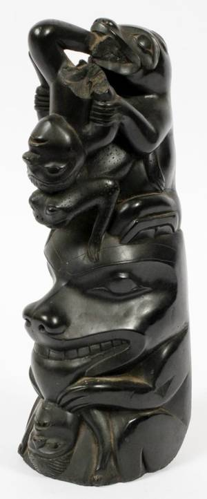 NORTHWEST COAST CARVED ARGILLITE TOTEM
