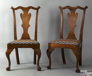 Pair of Pennsylvania Queen Anne walnut dining chairs ca 1750