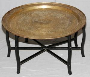 MIDCENTURY MODERN TABLE ROUND BRASS TOP WOOD