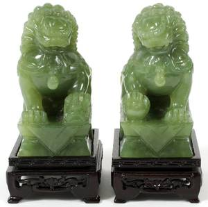 CHINESE CARVED JADE FOO DOGS PAIR