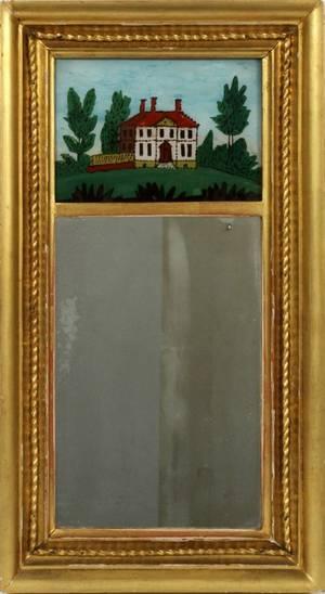 FEDERAL GILT WOOD  EGLOMISE MIRROR C 1830