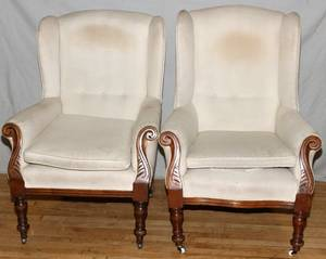VICTORIAN CARVED WOOD  UPHOLSTERED ARM CHAIRS2