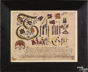 Jonas Kriebel Montgomery County Pennsylvania Vibrant Schwenkfelder ink and watercolor on paper  fraktur vorschrift dated 1842