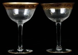 GOLD  CRYSTAL CHAMPAGNE GLASSES H 5 SET OF 13