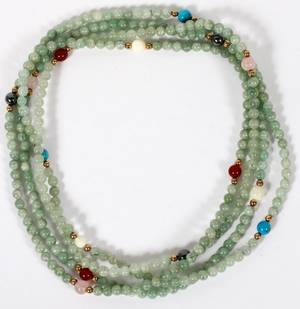 JADE TURQUOISE  AMBER BEAD NECKLACE