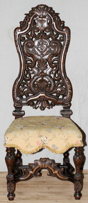 AMERICAN FLEMISH STYLE CARVED WALNUT SIDE CHAIR