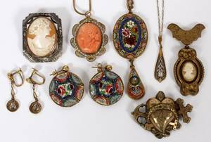 VINTAGE MOSAIC  CAMEO JEWELRY TEN PIECES