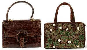 FINESSE BROWN ALLIGATOR  KIMBERLY ALAN HANDBAG
