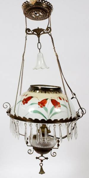 VICTORIAN HANGING OIL LAMP LATE 19TH C
