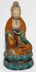 CHINESE GLAZED POTTERY FIGURE OF GUANYIN 19TH C
