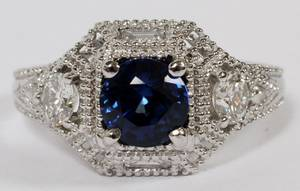 120CT NATURAL SAPPHIRE  DIAMOND LADYS RING