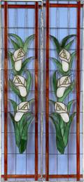 STAINED GLASS CALLA LILY PANELS C 1920 PAIR