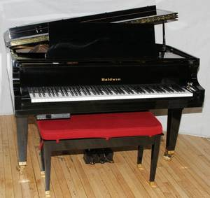 BALDWIN BLACK EBONY BABY GRAND PIANO