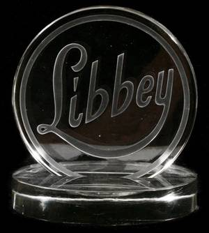 LIBBEY ENGRAVED GLASS PLAQUE ON STAND C 1933