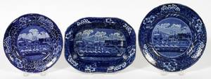 CLEWS HISTORICAL BLUE TRANSFER BOWL  PLATES