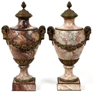 LOUIS XV STYLE ROUGE MARBLE BRONZE MOUNTED URNS