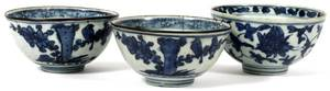 CHINESE BLUE  WHITE PORCELAIN BOWLS C 1900 THREE