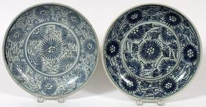 CHINESE BLUE  WHITE PORCELAIN PLATES 19TH C