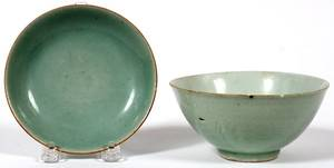 CELADON PORCELAIN RICE BOWL  PLATE LATE 19TH C