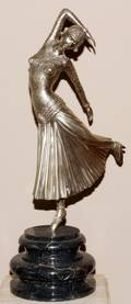 ART DECO STYLE PATINATED METAL SCULPTURE