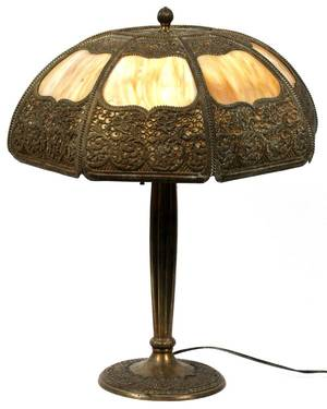 BRADLEY  HUBBARD BENT GLASS TABLE LAMP C 1915