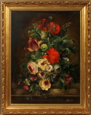 HEINRICH GAROSSAOIL ON CANVAS FLORAL STILL LIFE