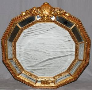 ITALIAN CARVED GILT WOOD TWELVE SIDED MIRROR