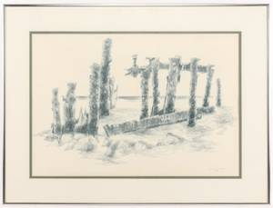 George Cress Pastel on Paper Dock Ruins  1976